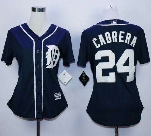 Tigers #24 Miguel Cabrera Navy Blue Women's Fashion Stitched MLB Jersey