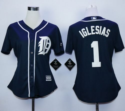 Tigers #1 Jose Iglesias Navy Blue Fashion Women's Stitched MLB Jersey