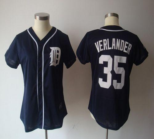 Tigers #35 Justin Verlander Navy Blue Women's Fashion Stitched MLB Jersey