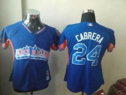 Tigers #24 Miguel Cabrera Blue 2013 All-Star Women's Stitched MLB Jersey