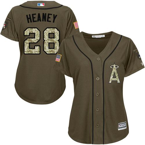 Angels #28 Andrew Heaney Green Salute to Service Women's Stitched MLB Jersey