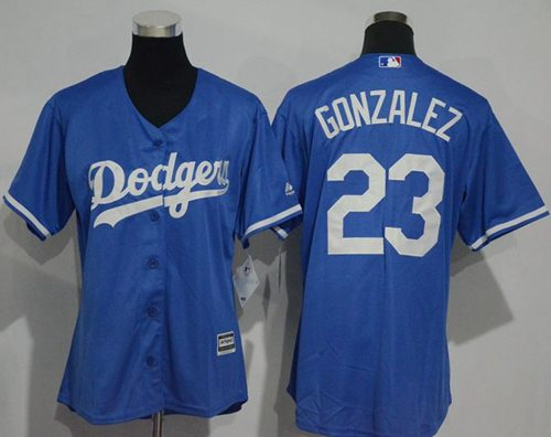 Dodgers #23 Adrian Gonzalez Blue Alternate Women's Stitched MLB Jersey