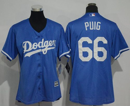 Dodgers #66 Yasiel Puig Blue Alternate Women's Stitched MLB Jersey