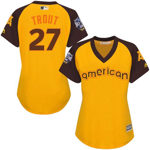 Angels #27 Mike Trout Gold 2016 All-Star American League Women's Stitched MLB Jersey