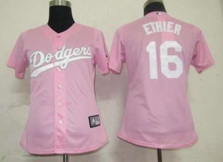 Dodgers #16 Andre Ethier Pink Lady Fashion Stitched MLB Jersey