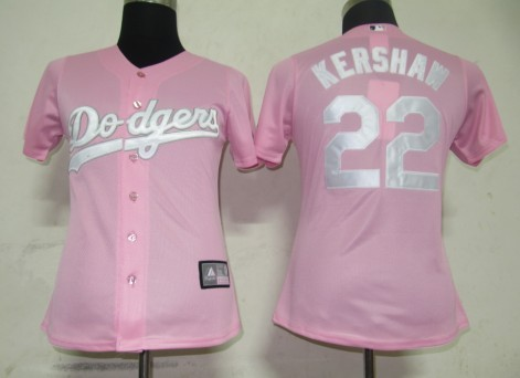 Dodgers #22 Clayton Kershaw Pink Lady Fashion Stitched MLB Jersey