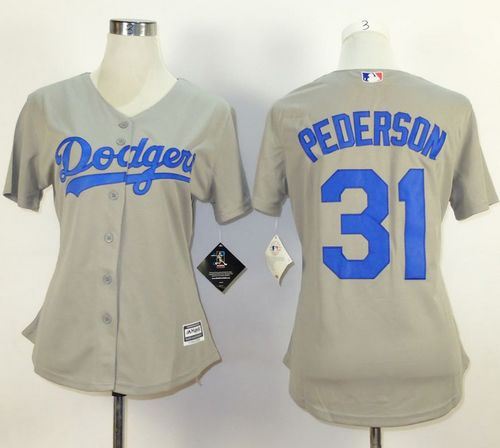Dodgers #31 Joc Pederson Grey Alternate Road Women's Stitched MLB Jersey