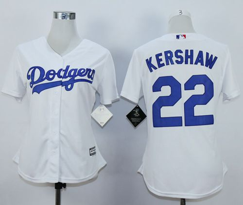 Dodgers #22 Clayton Kershaw White Women's Fashion Stitched MLB Jersey