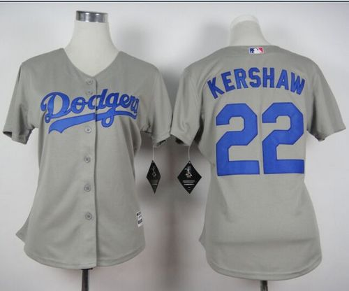 Dodgers #22 Clayton Kershaw Grey Alternate Road Women's Stitched MLB Jersey