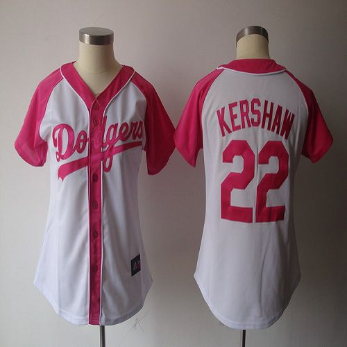 Dodgers #22 Clayton Kershaw White/Pink Women's Splash Fashion Stitched MLB Jersey