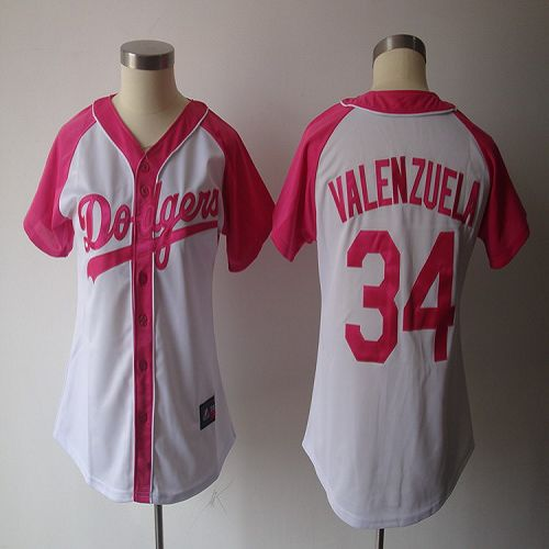 Dodgers #34 Fernando Valenzuela White/Pink Women's Splash Fashion Stitched MLB Jersey
