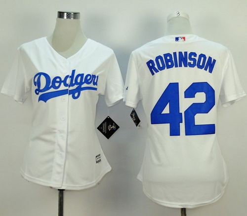 Dodgers #42 Jackie Robinson White Home Women's Stitched MLB Jersey