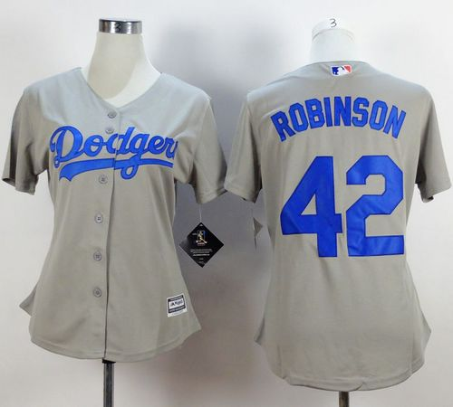 Dodgers #42 Jackie Robinson Grey Alternate Road Women's Stitched MLB Jersey
