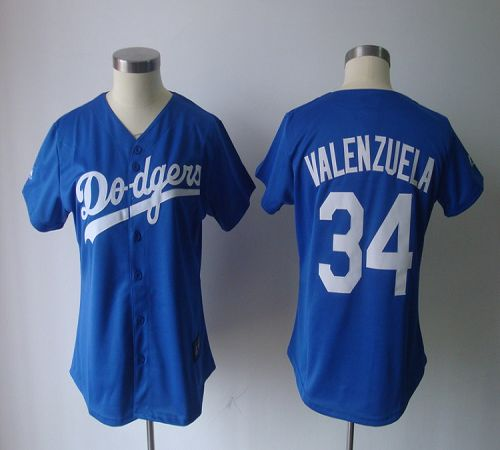 Dodgers #34 Fernando Valenzuela Blue Women's Fashion Stitched MLB Jersey