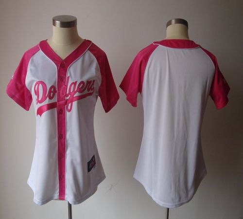 Dodgers Blank White/Pink Women's Splash Fashion Stitched MLB Jersey