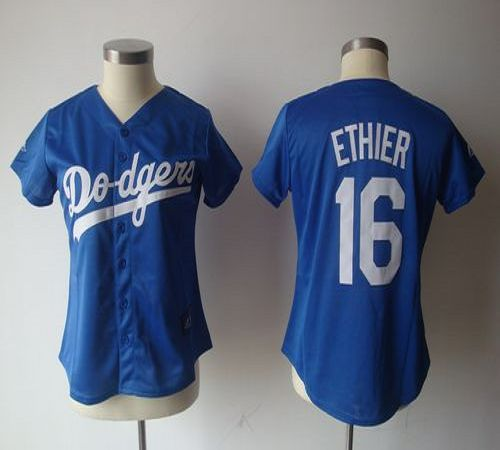 Dodgers #16 Andre Ethier Blue Women's Fashion Stitched MLB Jersey