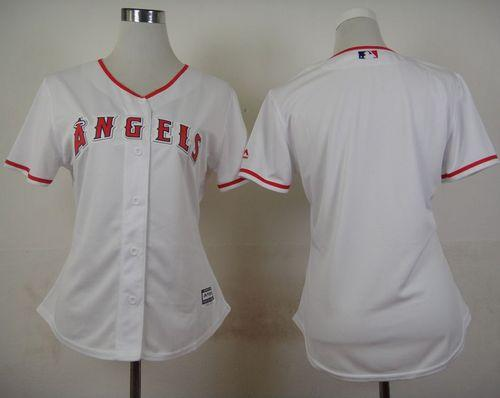 Angels Blank White Women's Home Stitched MLB Jersey