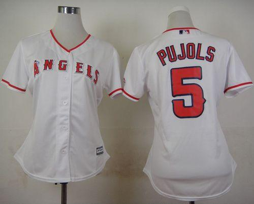 Angels of Anaheim #5 Albert Pujols White Women's Home Stitched MLB Jersey