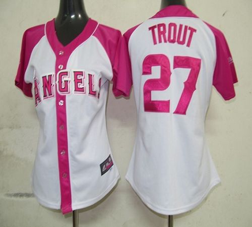 Angels #27 Mike Trout White/Pink Women's Splash Fashion Stitched MLB Jersey