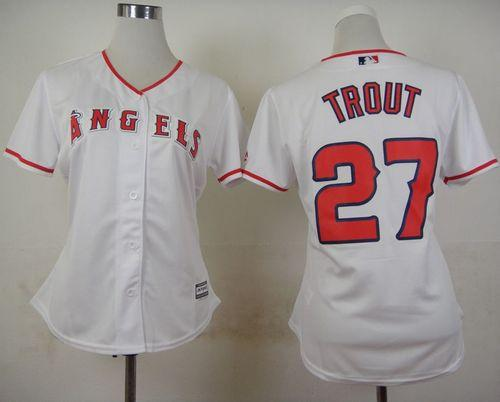 Angels #27 Mike Trout White Home Women's Stitched MLB Jersey
