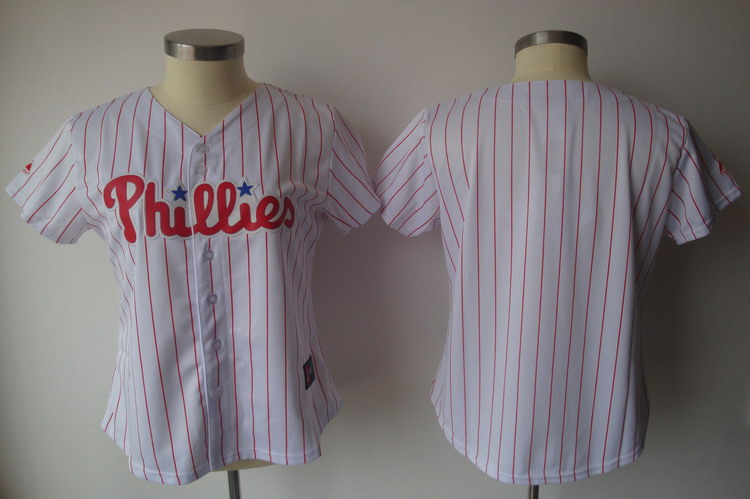 Phillies Blank White With Red Strip Women's Fashion Stitched MLB Jersey