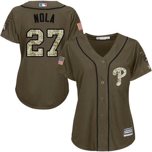 Phillies #27 Aaron Nola Green Salute to Service Women's Stitched MLB Jersey