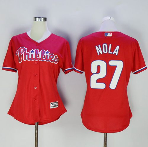 Phillies #27 Aaron Nola Red Women's Alternate Stitched MLB Jersey