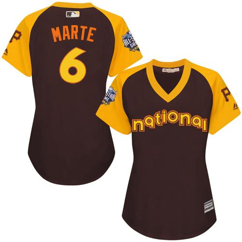 Pirates #6 Starling Marte Brown 2016 All-Star National League Women's Stitched MLB Jersey