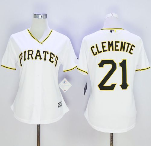 Pirates #21 Roberto Clemente White Women's Home Stitched MLB Jersey