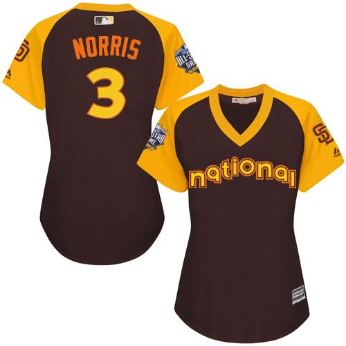 Padres #3 Derek Norris Brown 2016 All-Star National League Women's Stitched MLB Jersey