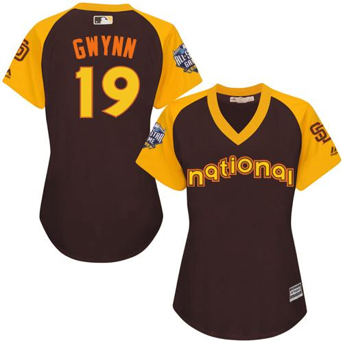 Padres #19 Tony Gwynn Brown 2016 All-Star National League Women's Stitched MLB Jersey