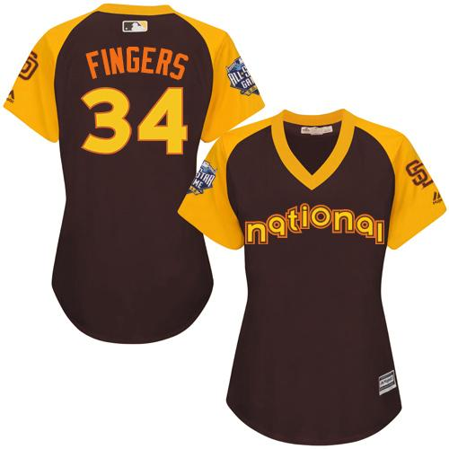 Padres #34 Rollie Fingers Brown 2016 All-Star National League Women's Stitched MLB Jersey