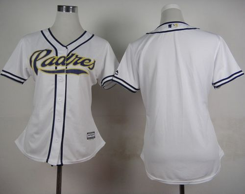 Padres Blank White Women's Home Stitched MLB Jersey