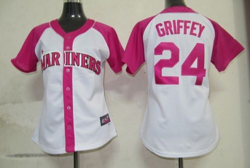 Mariners #24 Ken Griffey White/Pink Women's Splash Fashion Stitched MLB Jersey