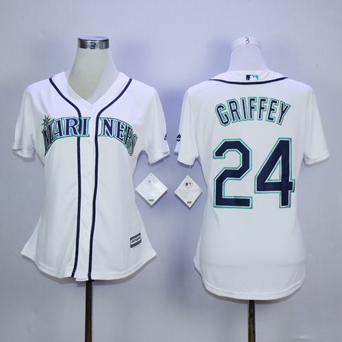 Mariners #24 Ken Griffey White Women's Fashion Stitched MLB Jersey