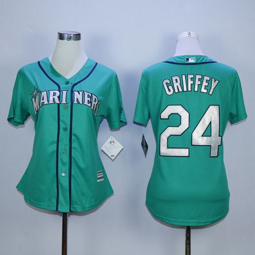 Mariners #24 Ken Griffey Green Alternate Women's Stitched MLB Jersey