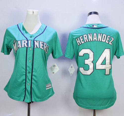 Mariners #34 Felix Hernandez Green Alternate Women's Stitched MLB Jersey