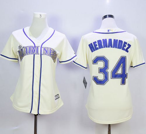 Mariners #34 Felix Hernandez Cream Alternate Women's Stitched MLB Jersey