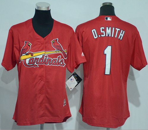 Cardinals #1 Ozzie Smith Red Women's Alternate Stitched MLB Jersey