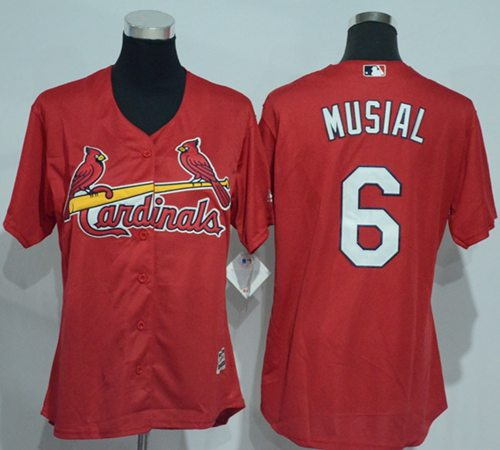 Cardinals #6 Stan Musial Red Women's Alternate Stitched MLB Jersey