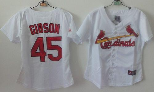 Cardinals #45 Bob Gibson White Women's Home Stitched MLB Jersey