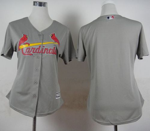 Cardinals Blank Grey Road Women's Stitched MLB Jersey