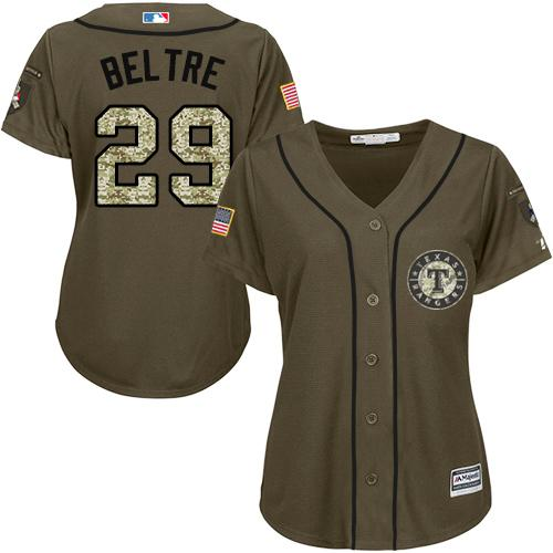 Rangers #29 Adrian Beltre Green Salute to Service Women's Stitched MLB Jersey