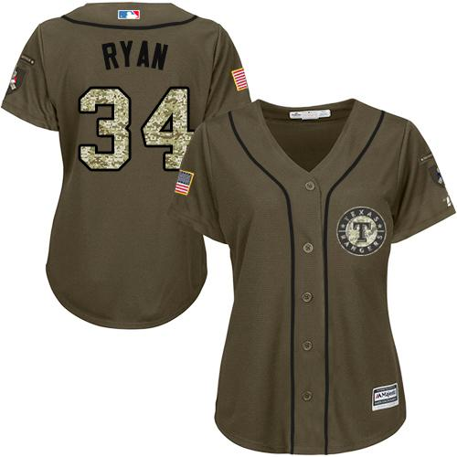 Rangers #34 Nolan Ryan Green Salute to Service Women's Stitched MLB Jersey