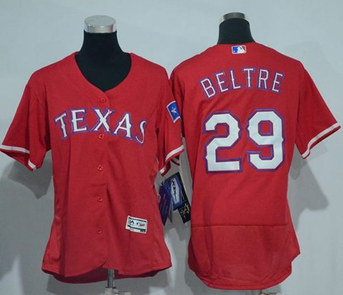 Rangers #29 Adrian Beltre Red Flexbase Authentic Women's Stitched MLB Jersey