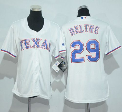 Rangers #29 Adrian Beltre White Women's Home Stitched MLB Jersey