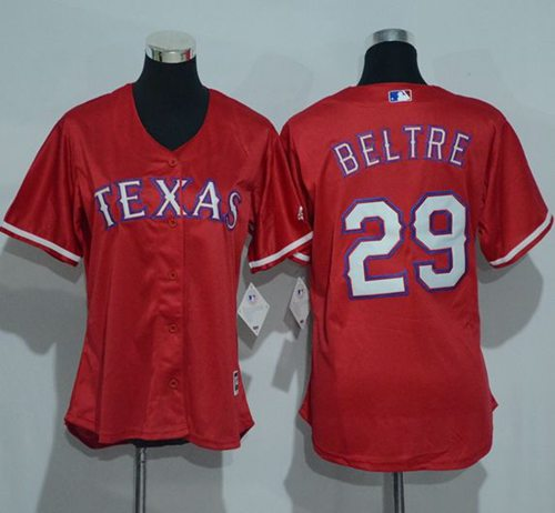 Rangers #29 Adrian Beltre Red Women's Alternate Stitched MLB Jersey