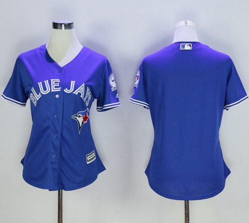 Blue Jays Blank Blue Alternate 40th Anniversary Women's Stitched MLB Jersey