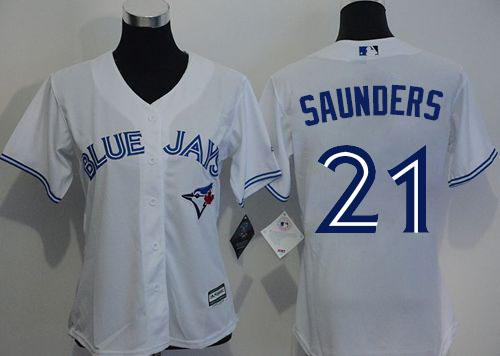 Blue Jays #21 Michael Saunders White Home Women's Stitched MLB Jersey
