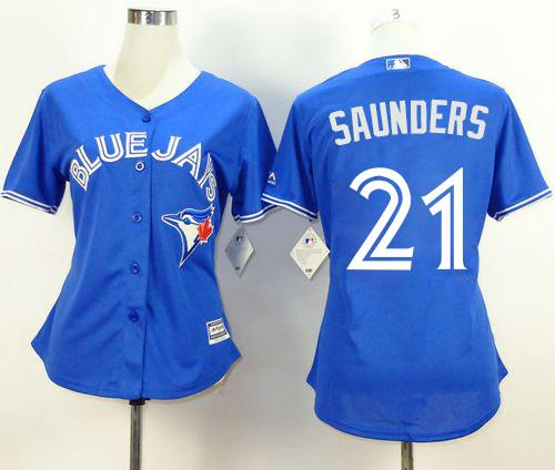 Blue Jays #21 Michael Saunders Blue Alternate Women's Stitched MLB Jersey